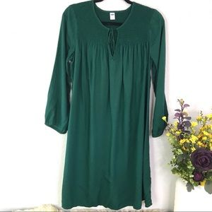 Old Navy Forest green smocked peasant shirt dress